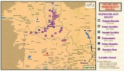Mapa de situación de las iglesias del Alto Aragón. Ver detalle.