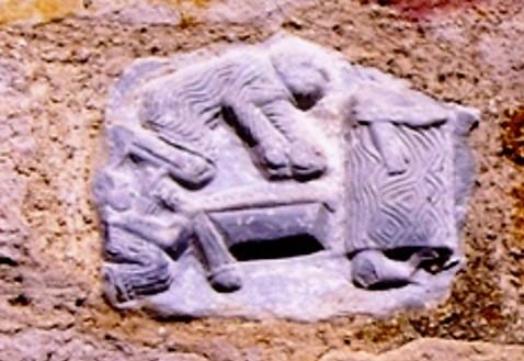 Relieve mármol blanco muro sur, episodio de la vida de S.Cipriano s. XI