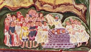 Miniatura Altomedieval: Pentateuco Ashburnham (siglo VII), detalle