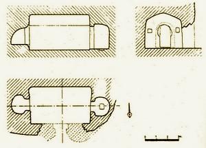 Planta, alzado y corte transversal según Monreal Gimeno L.A.