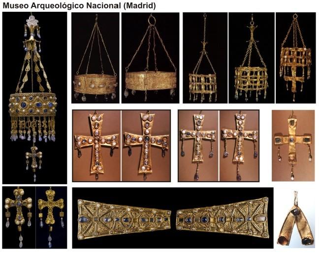 Piezas del tesoro de Guarrazar conservadas en el Museo Arqueológico Nacional, Madrid