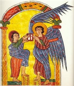 El Ángel entrega a Juan la carta para una de las iglesias de Asia