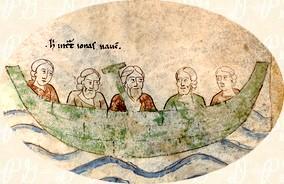 Folio 171r: Jonás en el barco camino de Tarsis, detalle