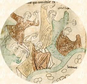 Folio 169v: La lapidación de Jeremías detalle