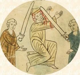 Folio 166v: Senaquerib muere a manos de sus hijos, detalle