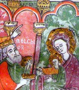 La Adoración de los Reyes Magos, detalle de decoración en plata y oro