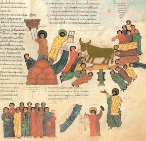 Flio 46R: Moisés recoge los diez mandamientos en el Monte Sinaí