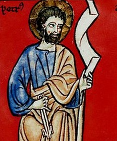 Beato de Manchester: San Pedro. Detalle de El Apostolado
