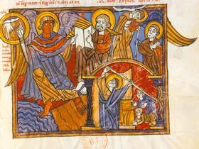 El Ángel fuerte. Juan recibe el libro para ser comido y la vara para medir el templo