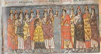 Ariamirus Rex, con el obispo Lucrecio y dos clérigos
