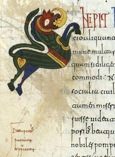 Detalle decoración en el margen de la página 72v
