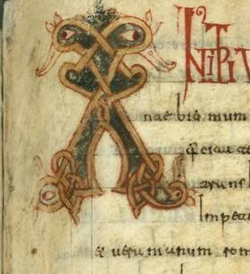 Letra mayúscula en el margen de la página 156r