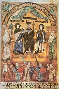 Alfonso III el Magno y su mujer, doña Jimena, con un obispo.