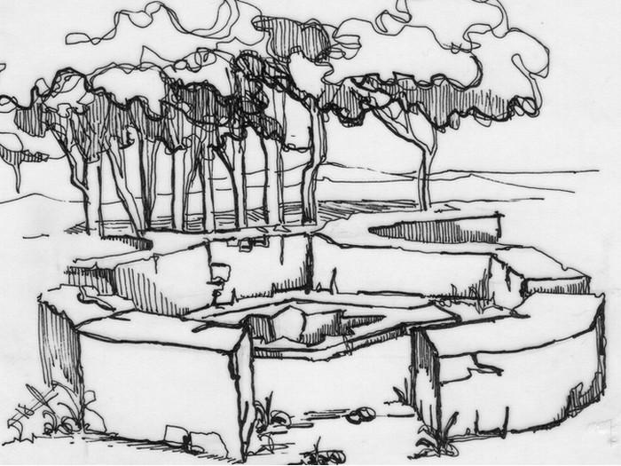Vista del baptisterio. Dibujo de Carlos García-Diego (1979).