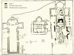 Plano del Conjunto Episcopal de Tarrasa según Torrella Nimbó. Pulsar para ampliar