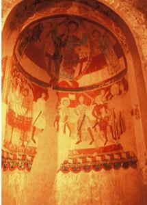 Pinturas románicas en un absidiolo de Santa María de Tarrasa