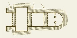 Cripta de San Antolín: Planta original según J. Fontaine (Zodiaque). La flechas señalan la situación de los arcos fajones de herradura