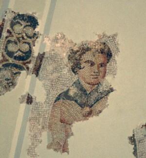 Mausoleo de Centcelles. Detalle de mosaico: resto de una figura alegórica de la Primavera