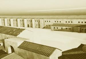 Recópolis: Reconstrucción de la fachada principal del palacio