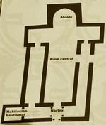 Recópolis: Planta de la basílica. Observese que los muros laterales no son perpendiculares a la cabecera