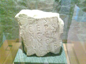Santianes de Pravia: Fragmento del Acróstico de Silo que aún estaba completo en el S. XVII