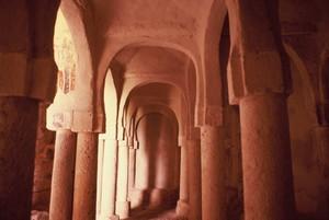 San Baudelio de Berlanga: Detalle del conjunto de arcos y columnas que forman la pequeña mezquita
