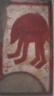San Baudelio de Berlanga: Primer grupo de pinturas: Oso. Museo del Prado de Madrid.