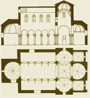 San Cebrián de Mazote:  Alzado y planta según Jacques Fontaine (Zodiaque)