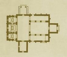 San Julián de los Prados: Planta según Hanson. El anexo lateral derecho es una reconstrucción moderna