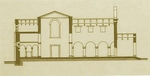 San Julián de los Prados: Corte transversal según Hanson. Obsérvese la cámara sobre el ábside central