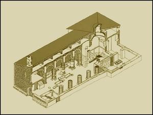 Perspectiva axonométrica del estado actual de la basílica