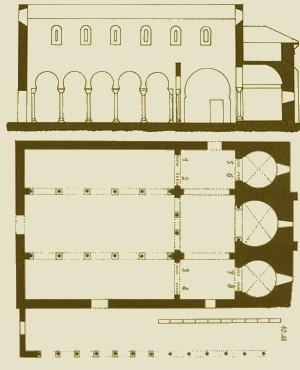 San Miguel de Escalada: alzado y planta según Jacques Fontaine (Zodiaque)