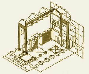 San Miguel de Lillo: Perspectiva axonométrica de su reconstrucción según L. Arias Páramo