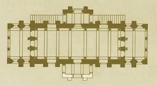 Santa María del Naranco: Planta de la nave superior según Gómez Moreno