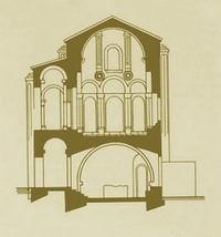 Santa María del Naranco: Sección transversal según Menédez Pidal