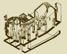 San Millán de Suso: Perspectiva axonométrica de la iglesia según F. Íñiguez. Observar la segunda planta sobre ls nave nororiental