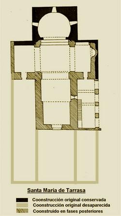 Planta actual de Santa María de Tarrasa y de su posible diseño original