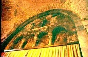 San Pedro de Tarrasa: Detalle del retablo del ábside.