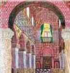 San Salvador de Valdediós: Reconstrucción de la nave central con el pórtico y la tribuna al fondo. Por gentileza de los monjes cistercienses de Valdediós