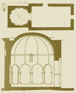 Santo Tomás de las Ollas: Planta original de la ermita y corte tranversal del ábside ampliado