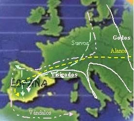 Plano de las invasiones de los pueblos bárbaros en Hispania