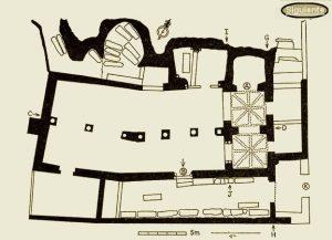 San Millán de Suso: San Millán de Suso: Planta general de San Millán de Suso en la actualidad según R. Puertas. Ver en la galería de imágenes las diversas etapas de construcción