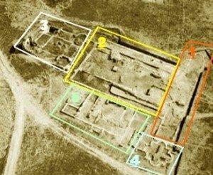 Carranque: Vista aérea de los restos de la Basílica señalando sus distintas áreas