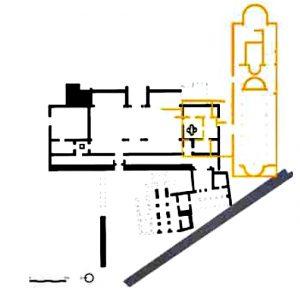 Planta del conjunto cristiano de Egitania. Superposición de la iglesia de la villa de Torre de Palma al baptisterio egitano y a la posible iglesia a la que iría asociado.