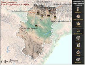 Monasterios visigodos en Aragón, según GEA On Line. Pulsar para ampliar.